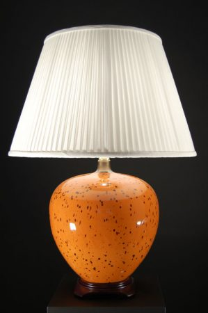 Very Large Amber Molten Ceramic Table Lamp with Shade