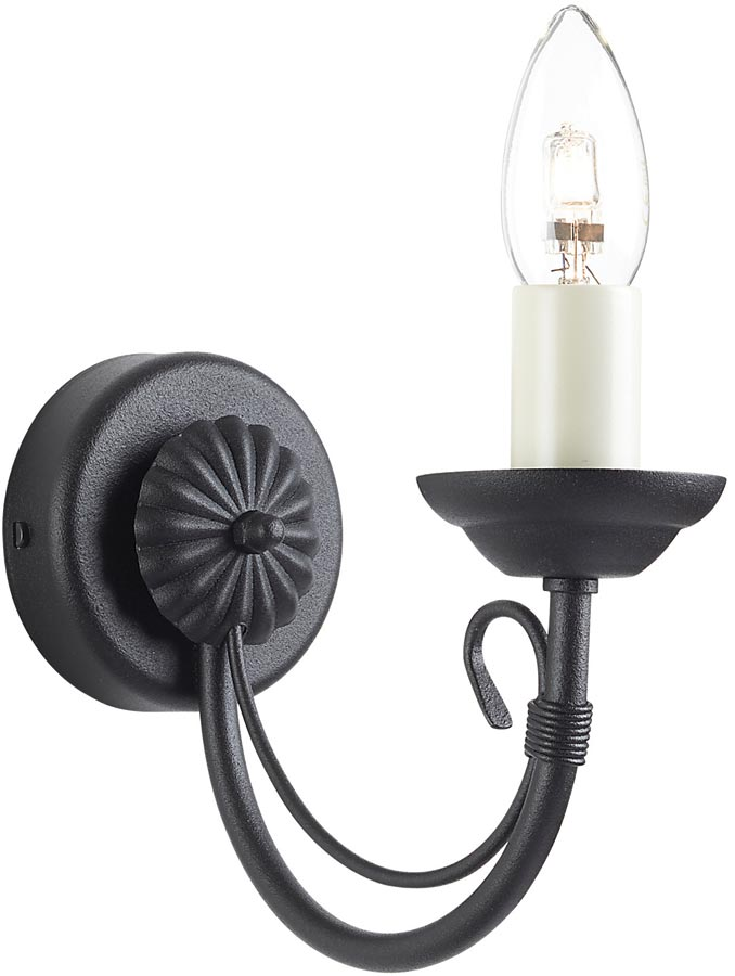 Black Wrought Wall Lights : Chartwell Traditional Black Wrought Iron Wall Light UK Made CH1/BLK
