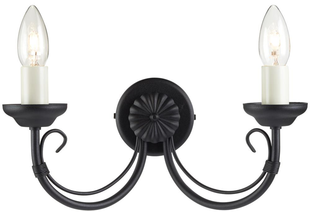 Black Wrought Wall Lights : Chartwell Traditional Black 2 Lamp Wrought Iron Wall Light CH2/BLK