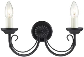 Chartwell Traditional Black 2 Lamp Wrought Iron Wall Light