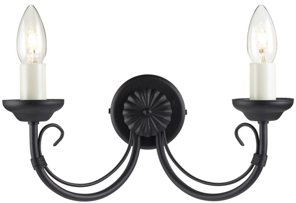 Chartwell Traditional Black 2 Lamp Wrought Iron Wall Light CH2/BLK