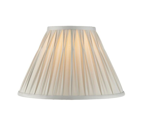 Chatsworth pinch pleat tapered 12 inch silver silk lamp shade main image