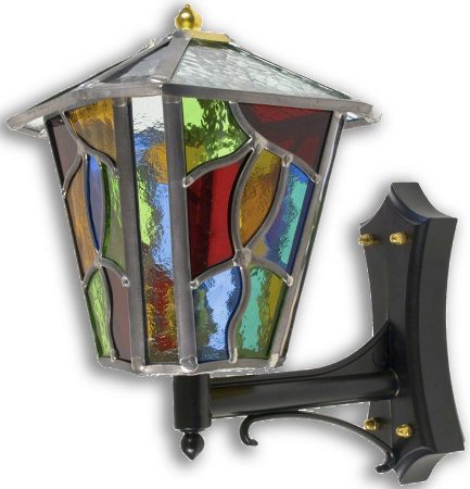 Chepstow Multi Coloured Leaded Glass Upward Outdoor Wall Lantern