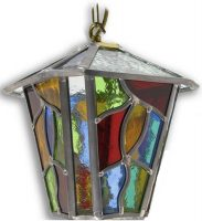 Chepstow Multi Coloured Leaded Glass Hanging Outdoor Porch Lantern