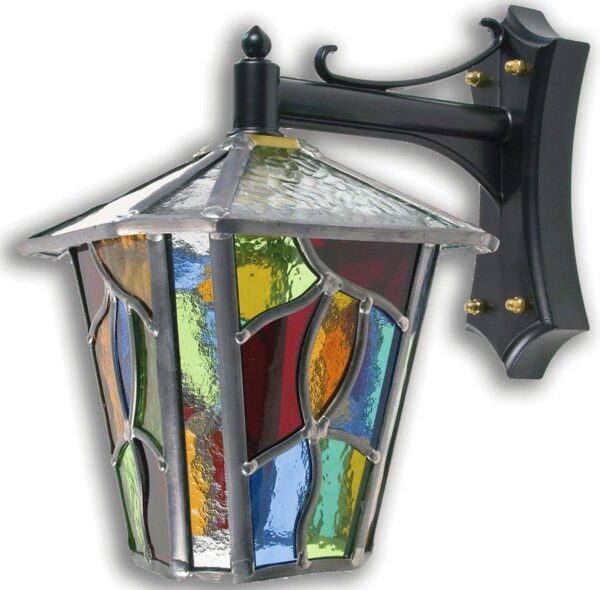 Chepstow Handmade Multi Coloured Leaded Glass Outdoor Wall Lantern