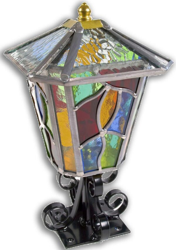 Chepstow Multi Coloured Leaded Glass Outdoor Post Top Lantern