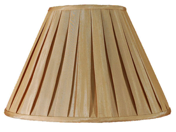 Champagne faux silk box pleat lamp shade