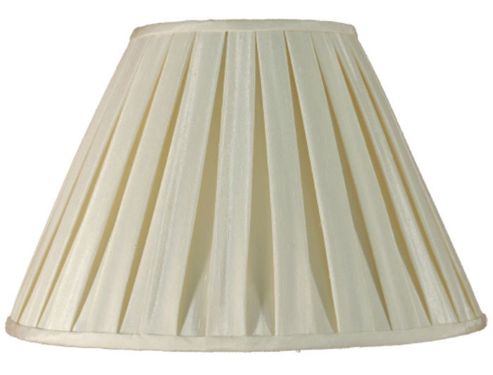 Cream Faux Silk Box Pleat 14 Inch, Pleated Lamp Shades For Table Lamps Uk