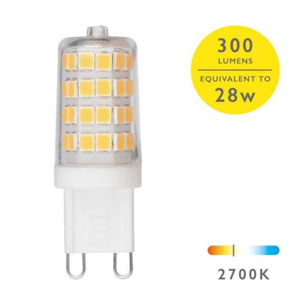 10 Pack Clear 4w G9 Capsule Light Bulb 2700k Warm White 350 Lumen