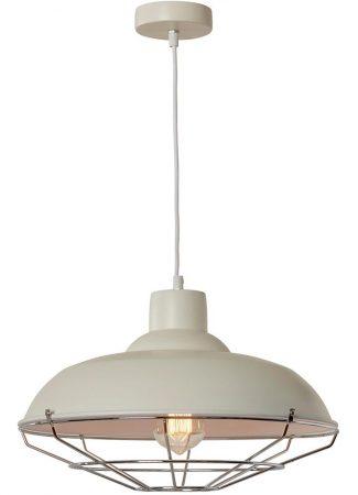 Cobden 1 Light Industrial Pendant Ceiling Light Cream Chrome Cage
