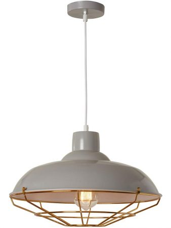 Cobden 1 Light Industrial Pendant Ceiling Light Soft Grey Copper Cage