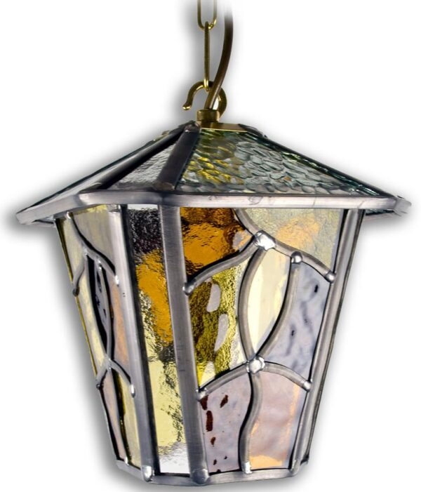 Coniston Amber Leaded Glass Hanging Outdoor Porch Lantern