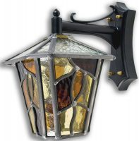 Coniston Amber Leaded Glass Downward Outdoor Wall Lantern