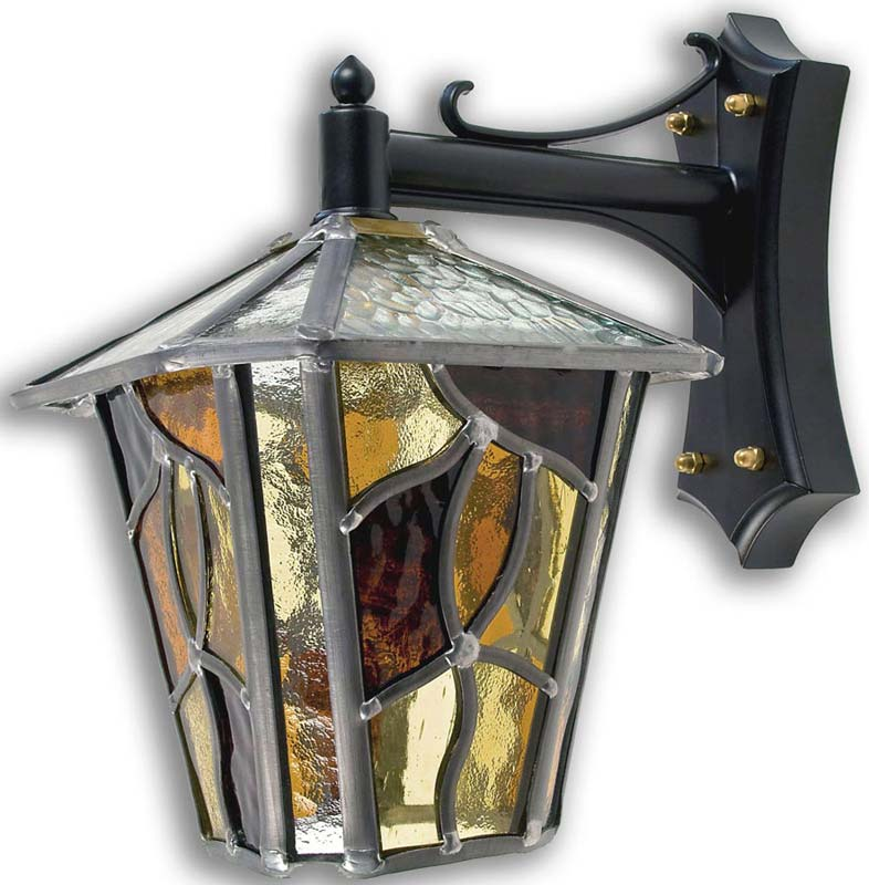 Coniston amber leaded glass outdoor wall lantern