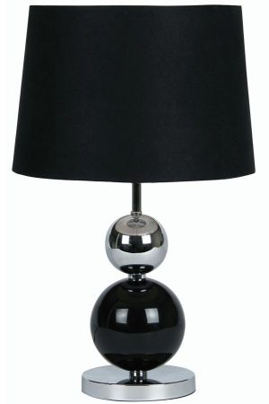 Corby Black Chrome Ball Touch Table Lamp Black Shade