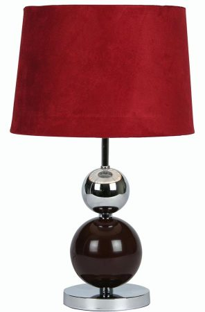 Corby Burgundy Chrome Ball Touch Table Lamp Claret Shade