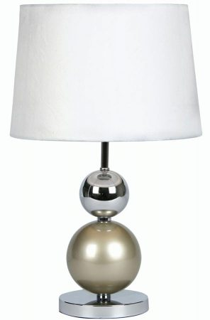 Corby Champagne Chrome Ball Touch Table Lamp White Shade