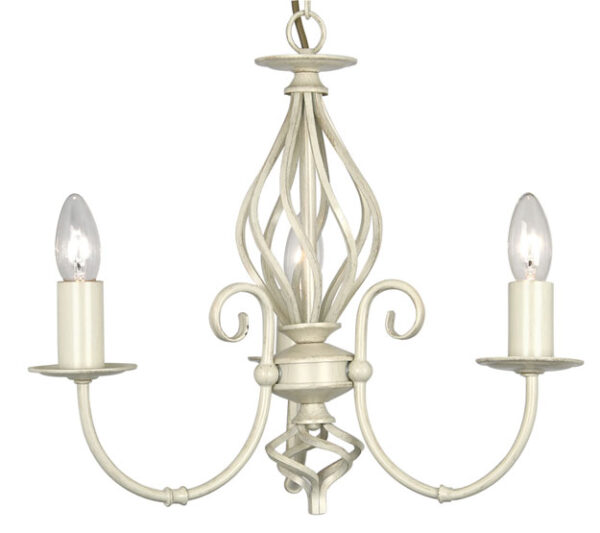 Tuscany Cream Scrolled Bird Cage 3 Light Ceiling Fitting