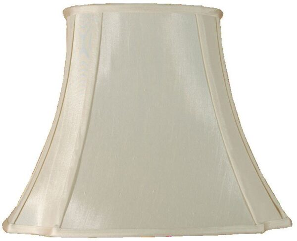 Cream Oval Cut Corner 14 Inch Faux Silk Table Lamp Shade