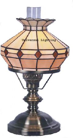 Cream And Amber Glass Tiffany Style Imitation Table Oil Lamp