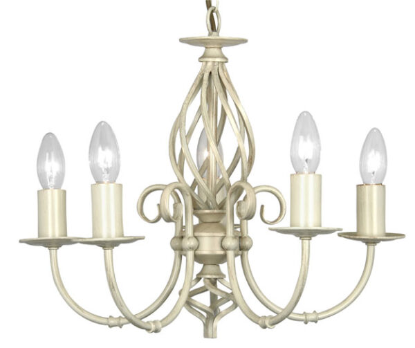 Tuscany Cream Scrolled Bird Cage 5 Light Ceiling Fitting