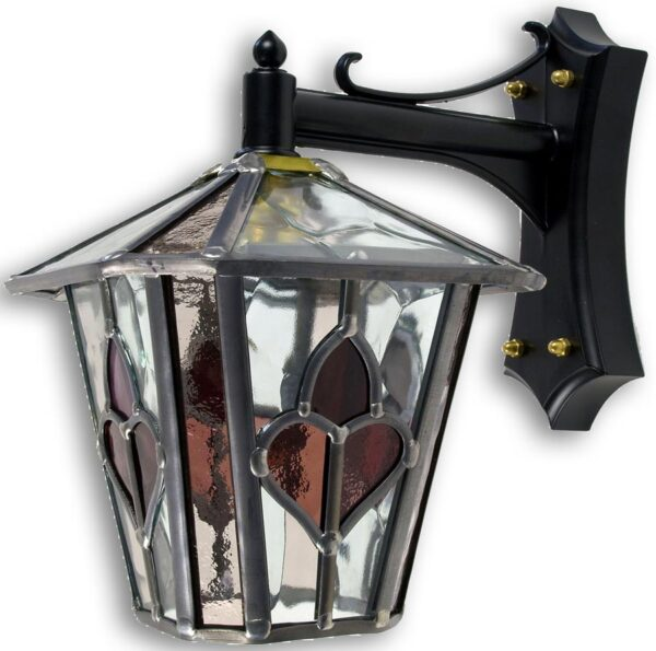 Dalton Handmade Dark Pink Leaded Stained Glass Outdoor Wall Lantern