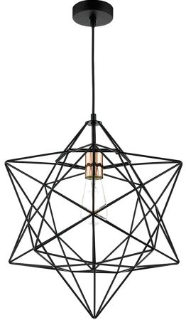 Dar Luanda 1 Light Wire Star Pendant Black And Copper
