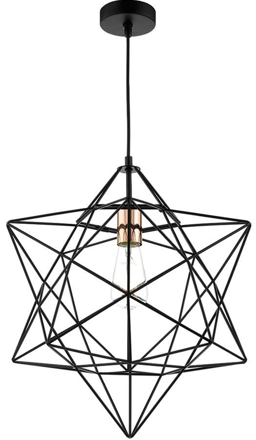 Dar Luanda 1 Light Wire Star Pendant Black And Copper