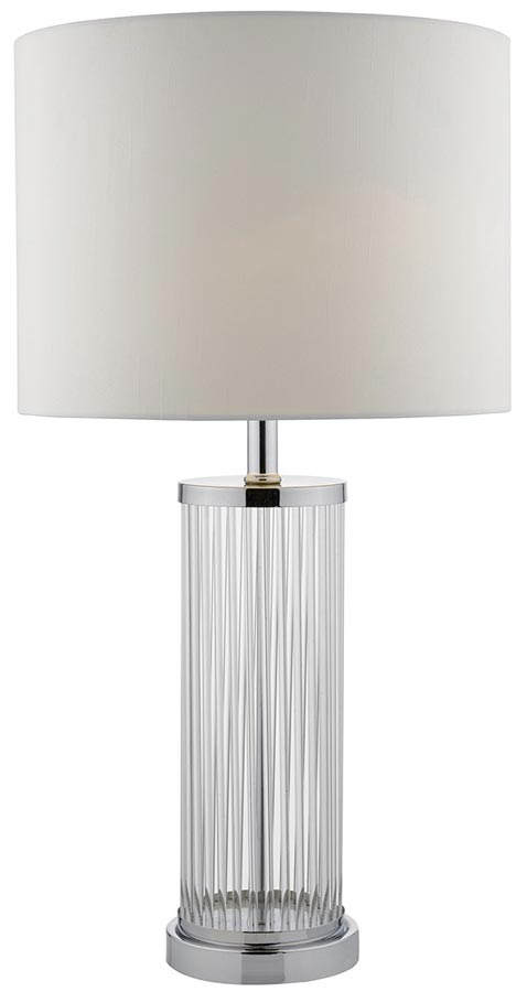 Dar Olalla Glass Rods Table Lamp In Chrome Ivory Shade