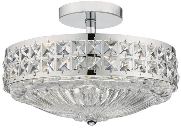 Dar Olona Crystal 3 Lamp Semi Flush Light Polished Chrome