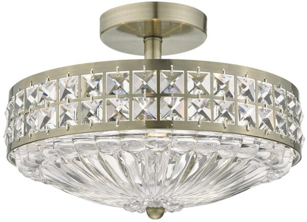 Dar Olona Crystal 3 Lamp Semi Flush Light Antique Brass