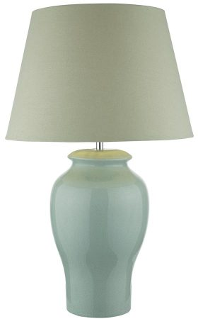 Dar Oonagh Pale Blue Crackle Glaze Table Lamp With Shade