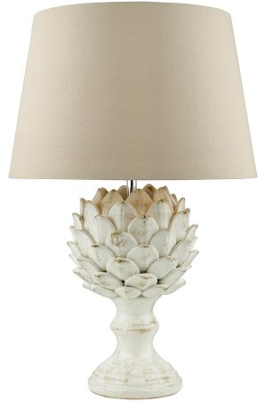 Dar Orris Ceramic Artichoke Table Lamp Base Antique Cream