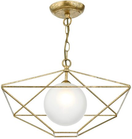 Dar Orsini Antique Gold 1 Light Pendant With Opal Globe