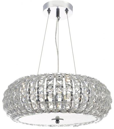 Dar Piazza Polished Chrome 3 Light Pendant K9 Crystal