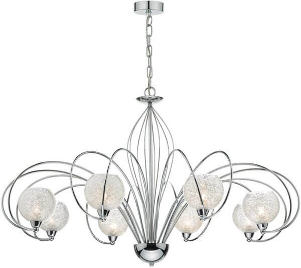 Dar Rafferty 8 Light Dual Mount Chandelier Polished Chrome
