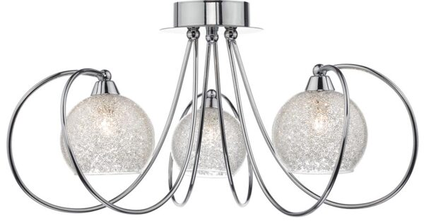 Dar Rafferty 3 Light Semi Flush Ceiling Light Polished Chrome