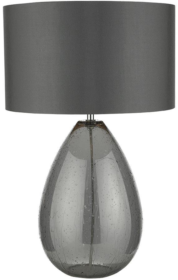 Dar Rain Textured Smoked Glass Table Lamp Grey Shade