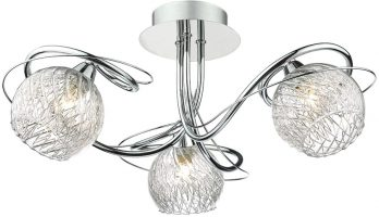 Dar Rehan Polished Chrome 3 Light Semi Flush Rippled Glass