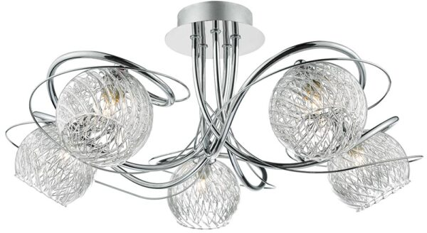 Dar Rehan Polished Chrome 5 Light Semi Flush Rippled Glass