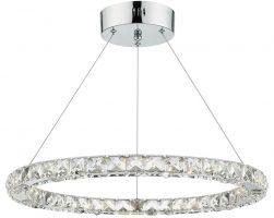 Dar Roma Dimmable LED Single Crystal Pendant Polished Chrome