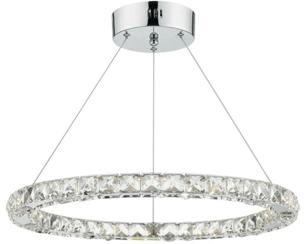 Dar Roma Dimmable LED Single Crystal Pendant Polished Chrome