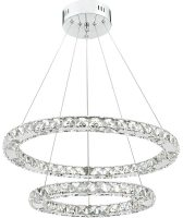 Dar Roma Dimmable LED Double Crystal Pendant Polished Chrome