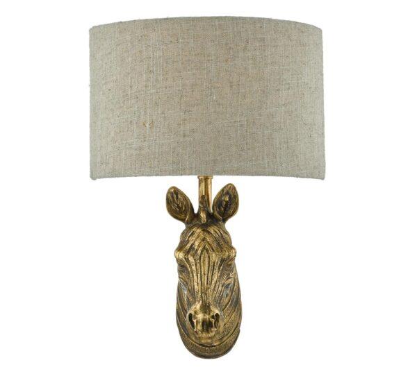 Dar Abby Zebra 1 Lamp Wall Light Gold Finish Natural Linen Shade