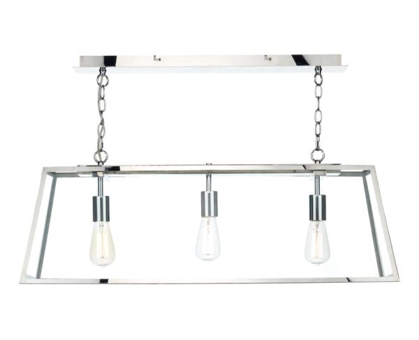 Dar Academy 3 Lamp Industrial Trough Pendant Ceiling Light Stainless