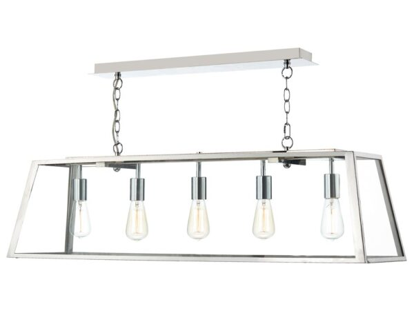 Dar Academy 5 Lamp Industrial Trough Pendant Ceiling Light Stainless
