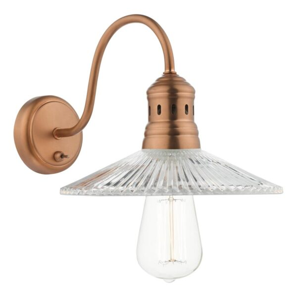 Dar Adeline Switched 1 Lamp Wall Light Antique Copper Ribbed Glass