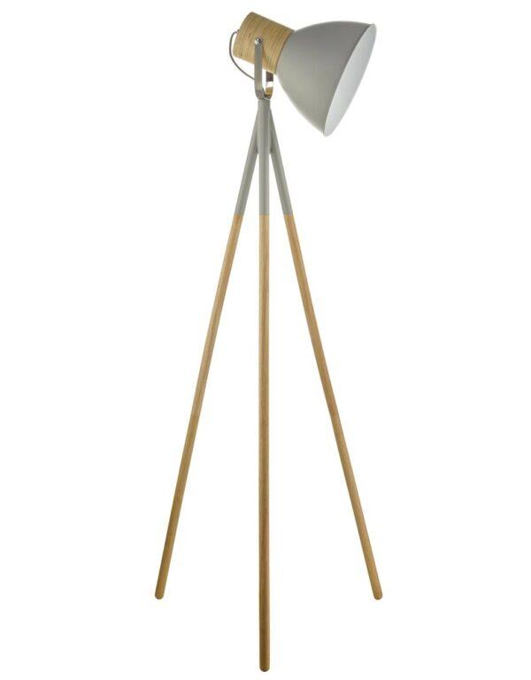 Dar Adna Scandinavian Style Tripod Floor Lamp Matt Grey & Wood
