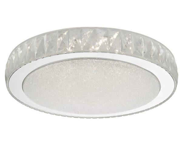 Dar Akelia Bright 24w LED Large Flush Low Ceiling Light Stainless Acrylic