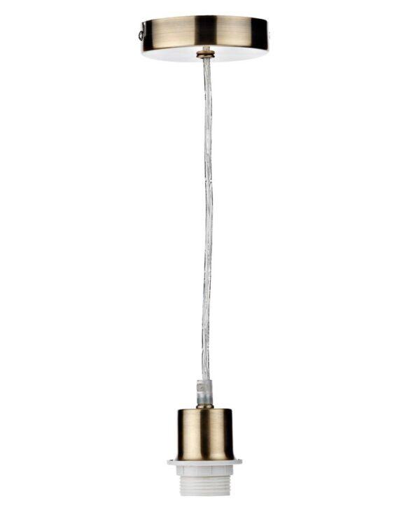 Dar Antique Brass Finish Clear Flex E27 Pendant Ceiling Light Cable Set